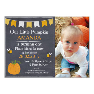 Pumpkin And Bees Chalkboard Birthday Invitation