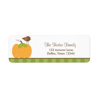 Pumpkin and Bird Return Address Labels Return Address Labels