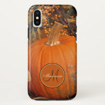 Pumpkin And Bittersweet Vine Fall Theme Monogram iPhone X Case