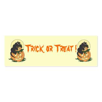 Pumpkin and black cat bookmark mini business card