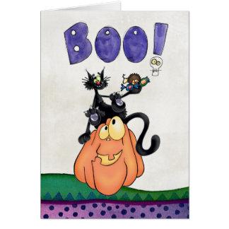 pumpkin and black cats say Boo Card