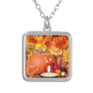 Pumpkin and candles to celebrate Thanksgiving Silver Plated Necklace