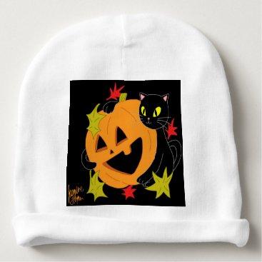 Halloween Themed Pumpkin and Cat 1 Baby Beanie