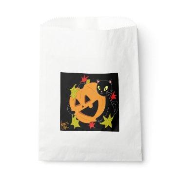 Halloween Themed Pumpkin and Cat 1 Favor Bag