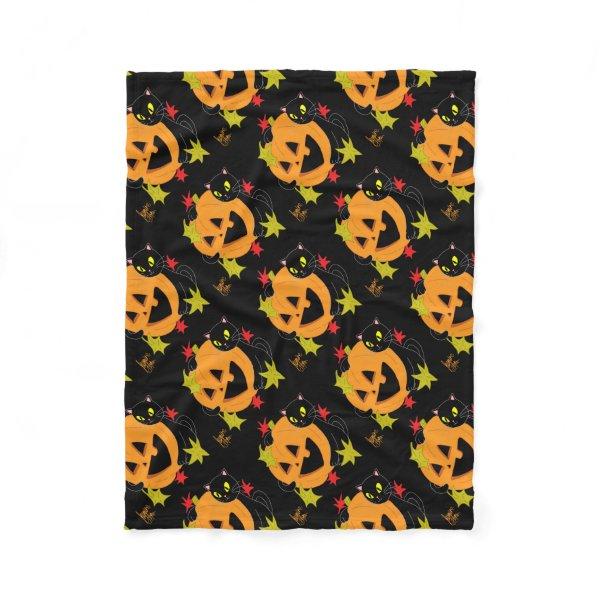 Pumpkin and Cat 1 Fleece Blanket