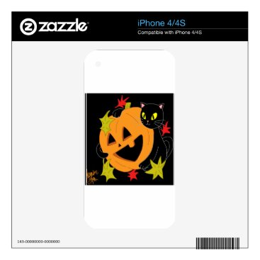 Halloween Themed Pumpkin and Cat 1 iPhone 4 Decal