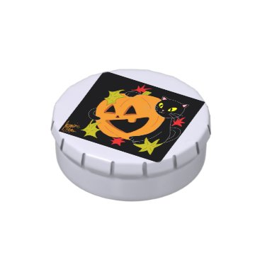 Halloween Themed Pumpkin and Cat 1 Jelly Belly Tins