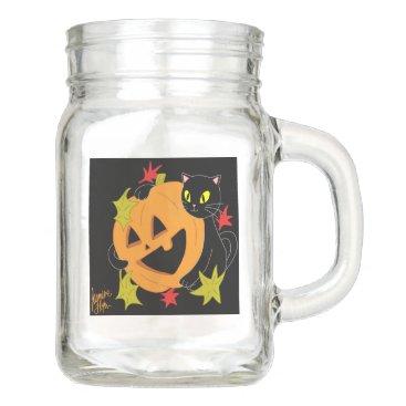 Halloween Themed Pumpkin and Cat 1 Mason Jar