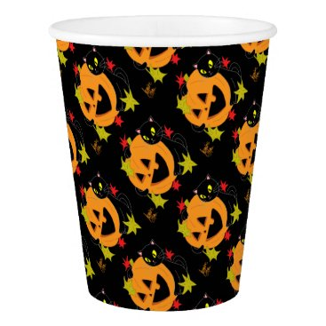 Halloween Themed Pumpkin and Cat 1 Paper Cup