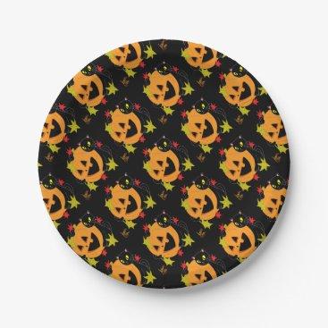 Halloween Themed Pumpkin and Cat 1 Paper Plate