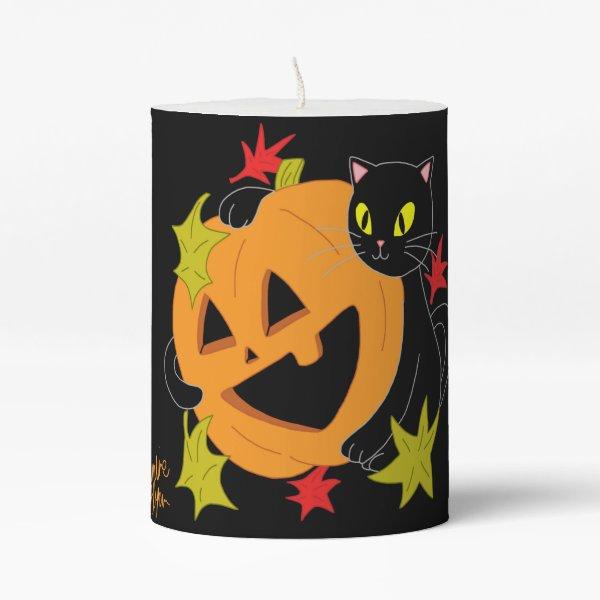 Pumpkin and Cat 1 Pillar Candle