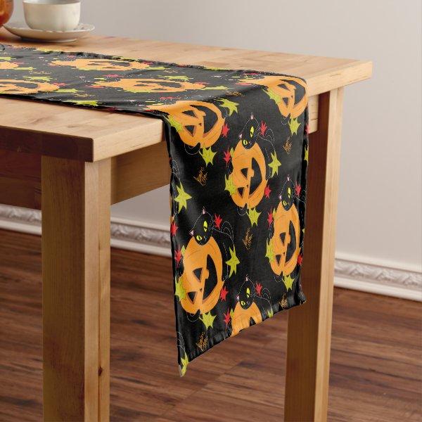 Pumpkin and Cat 1 Short Table Runner