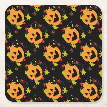 Halloween Themed Pumpkin and Cat 1 Square Paper Coaster
