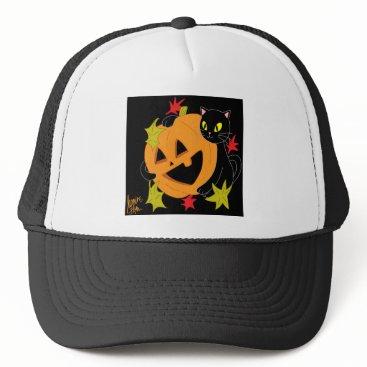 Halloween Themed Pumpkin and Cat 1 Trucker Hat