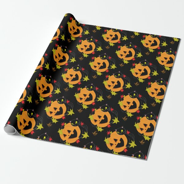 Pumpkin and Cat 1 Wrapping Paper