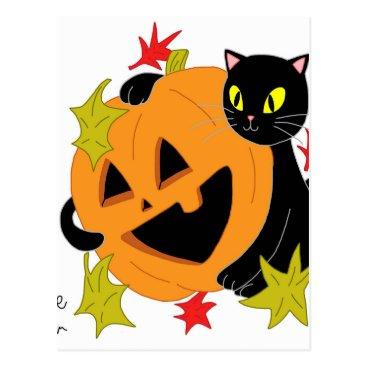 jasmineflynn Pumpkin and Cat 2 Postcard