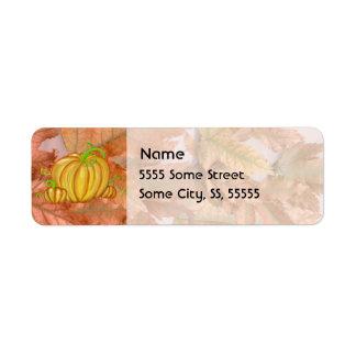 Pumpkin and Fall Leaves Return Address Label