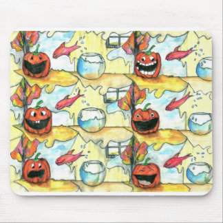 Pumpkin and fish Tessellation pattern Halloween Mouse Pad