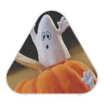 Pumpkin and ghost - funny ghost - orange pumpkin bluetooth speaker