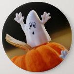 Pumpkin and ghost - funny ghost - orange pumpkin button