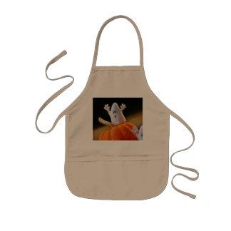 Pumpkin and ghost - funny ghost - orange pumpkin kids' apron
