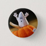 Pumpkin and ghost - funny ghost - orange pumpkin pinback button