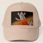 Pumpkin and ghost - funny ghost - orange pumpkin trucker hat