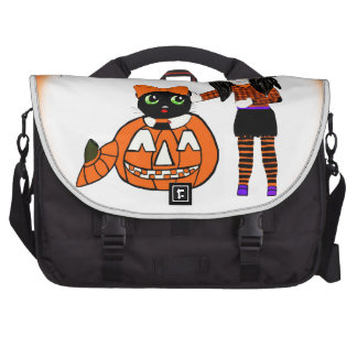 Pumpkin and Halloween Cat Laptop Messenger Bag