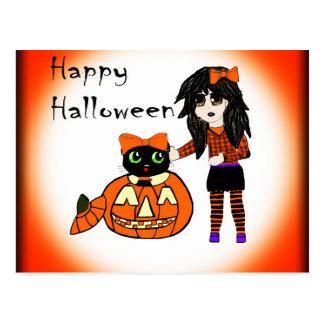 Pumpkin and Halloween Cat Postcard
