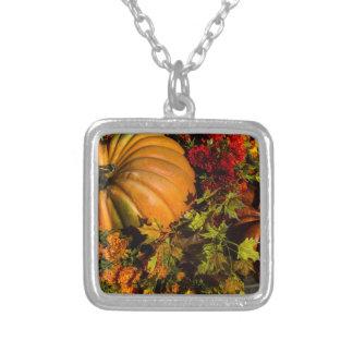 Pumpkin And Mum Arrangement Silver Plated Necklace