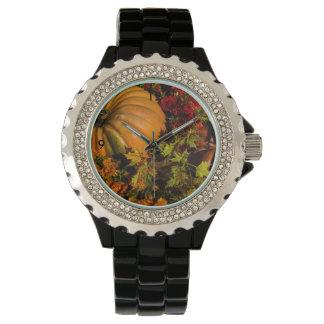 Pumpkin And Mum Arrangement Wrist Watch