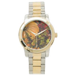 Pumpkin And Mum Arrangement Wristwatch