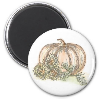 Pumpkin and Mums 2 Inch Round Magnet