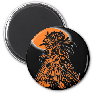 PUMPKIN AND SCARE CROW 2 INCH ROUND MAGNET