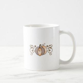 PUMPKIN AND SCROLL BORDER COFFEE MUGS