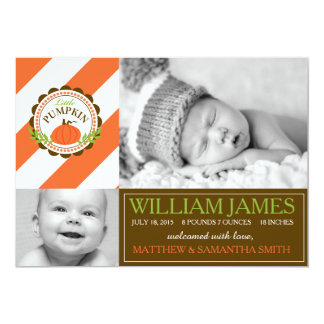 Pumpkin and Stripe Birth Announcement Photo Card