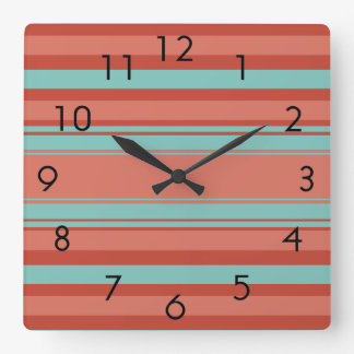 Pumpkin and Teal Stripes Square Wall Clock
