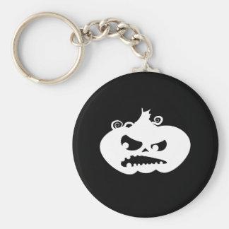 Pumpkin Angry Basic Round Button Keychain
