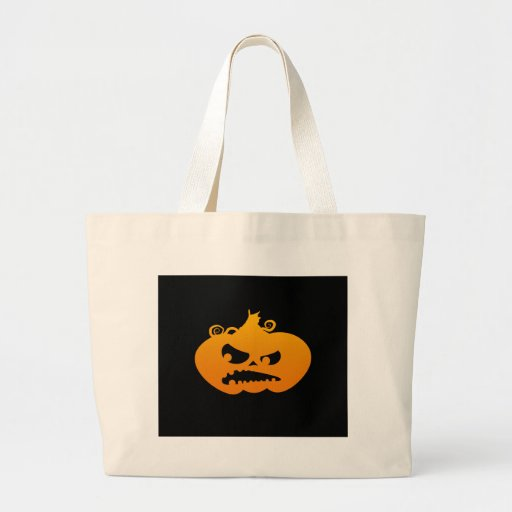 Pumpkin Angry Tote Bags