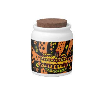 Pumpkin art five candy jars