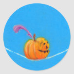 Pumpkin art - fun colorful drawing circus round sticker
