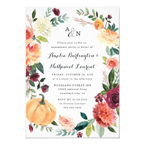 Pumpkin Autumn Chic Floral Rustic Engagement Party Invitation