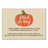 Pumpkin Autumn Fall Baby Shower Book For Baby Card