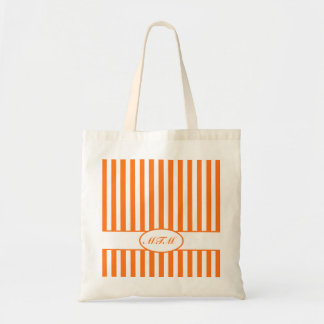 Pumpkin Autumnal Stripes with monogram Tote Bag
