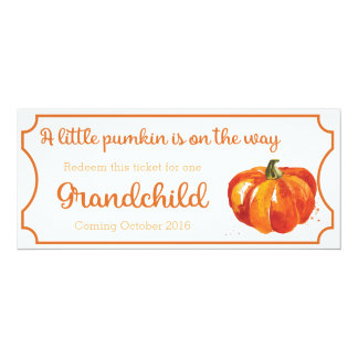 Pumpkin baby Announcement Ticket Grandchild