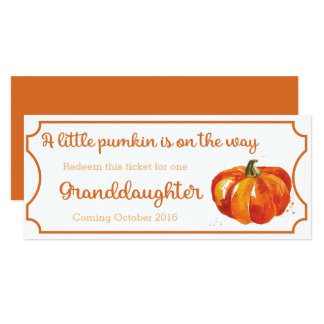Pumpkin baby Announcement Ticket Granddaughter