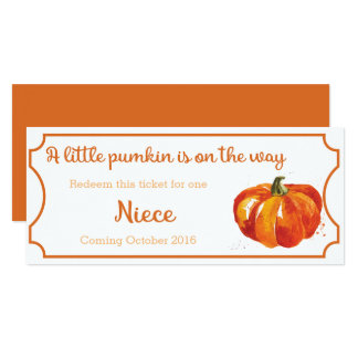 Pumpkin baby Announcement Ticket Niece