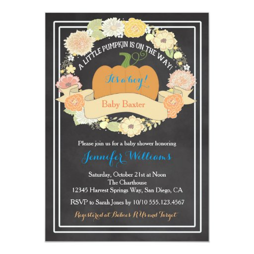 Pumpkin Baby Boy Shower Invitation