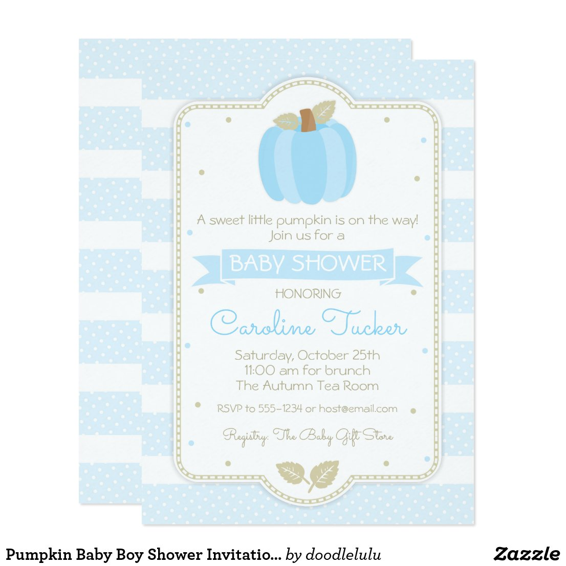 Pumpkin Baby Boy Shower Invitation - Blue Stripes