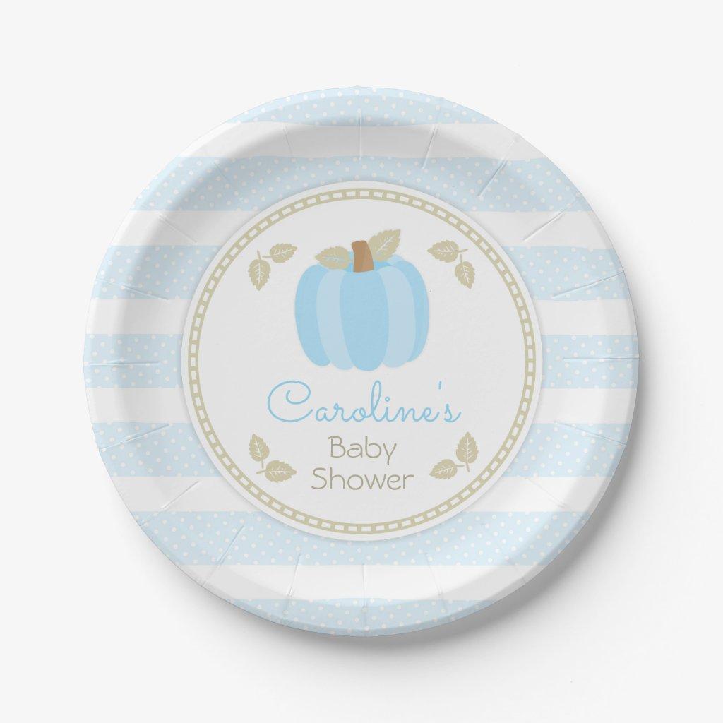 Pumpkin Baby Boy Shower Paper Plate